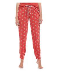 Jane & Bleecker New York | Red Jane & Bleecker Sparrow-print Jersey Sleep Pants | Lyst