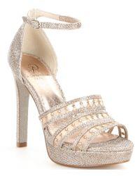 Adrianna Papell | Morgan Crystal-embellished Metallic Mesh Dress Sandals | Lyst