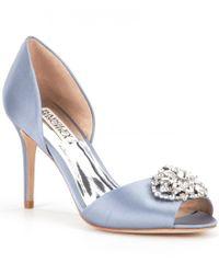 Badgley Mischka | Blue Dana Rhinestone-embellished Satin D ́orsay Peep Toe Pumps | Lyst