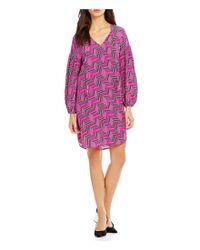 Trina Turk   Purple Granville V-neck With Ties Printed Silk Dress   Lyst