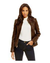 MICHAEL Michael Kors | Brown Leather Moto Jacket | Lyst