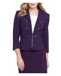 Tahari | Purple Petite Double Breasted Zip Peplum Jacket | Lyst
