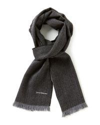 Hickey Freeman   Black Herringbone Wool Scarf for Men   Lyst