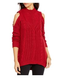 Jessica Simpson | Red Riva Mock Neck Cold Shoulder Cable-knit Sweater | Lyst