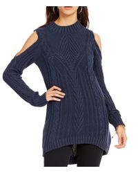 Jessica Simpson | Blue Riva Mock Neck Cold Shoulder Cable-knit Sweater | Lyst