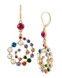 Betsey Johnson - Multicolor Mixed Stone Spiral Drop Statement Earrings - Lyst