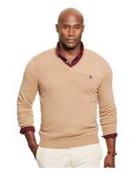 Polo Ralph Lauren | Natural Men's Big & Tall Merino Wool V-neck Sweater for Men | Lyst
