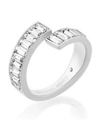 Michael Kors   Metallic Baguette Crystal Bypass Ring   Lyst