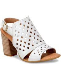 Born | White Havana Geometric Cutout Leather Slingback Block Heel Sandals | Lyst