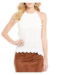 Blu Pepper | Multicolor Scalloped Keyhole Back Tank Top | Lyst