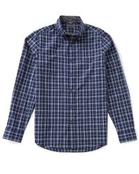Michael Kors | Blue Caden Tailored-fit Long-sleeve Plaid Woven Shirt for Men | Lyst