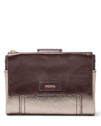 Fossil   Multicolor Ellis Multifunction Leather Wallet   Lyst