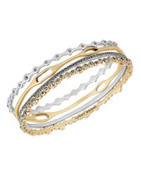 Lucky Brand | Metallic Pebble 4-piece Bangle Bracelet Set | Lyst