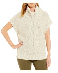 Vince Camuto | White Two By Chunky Front Cable Stitch Turtleneck Sweater | Lyst