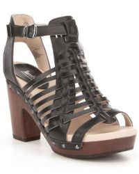 Jambu | Black Valentina Leather Caged Wood Block Heel Sandals | Lyst