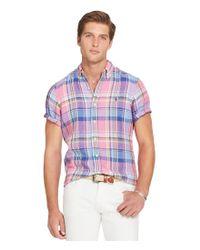 Polo Ralph Lauren   Blue Plaid Linen Short-sleeve Woven Shirt for Men   Lyst