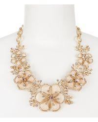 Belle By Badgley Mischka | Metallic Flower Statement Necklace | Lyst