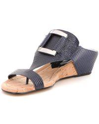 Donald J Pliner - Blue Daun Lizard Printed Leather Wedge Sandals - Lyst