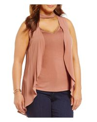 Democracy | Multicolor Plus Mock Neck Sleeveless Front Overlay Top | Lyst