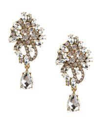 Belle By Badgley Mischka | Metallic Rhinestone Cluster Chandelier Earrings | Lyst
