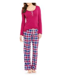 Lucky Brand | Pink Plaid Flannel Pajamas | Lyst