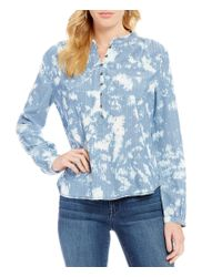 William Rast   Blue Anastasia Abstract Print High-low Long-sleeve Blouse   Lyst
