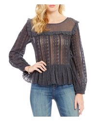 William Rast | Black Christine Long-sleeve Ruffle Peplum Top | Lyst