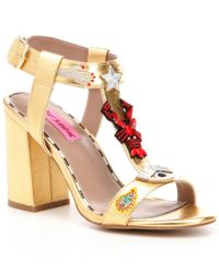 Betsey Johnson   Metallic Axel T-strap Embellished Microsuede Sandals   Lyst