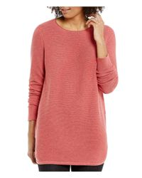 Eileen Fisher | Pink Peruvian Organic Cotton Round Neck Long Sleeve Top | Lyst