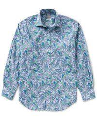 Thomas Dean | Blue Paisley Print Long-sleeve Woven Shirt for Men | Lyst