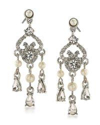 Carolee   Metallic 21 Club Faux-pearl Mini Chandelier Earrings   Lyst