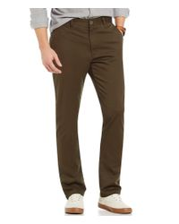 RVCA   Green Week-end Stretch Twill Flat-front Slim-straight Pants for Men   Lyst