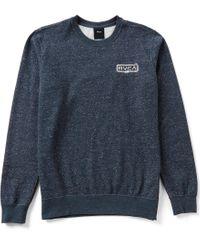 RVCA | Blue Double Rope Embroidered Fleece Crewneck Sweatshirt for Men | Lyst