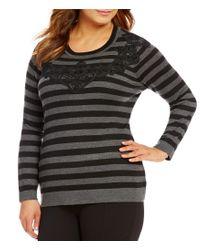 Vince Camuto   Gray Plus Long Sleeve Lace Yoke Stripe Sweater   Lyst