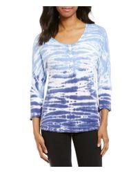 Calvin Klein | Blue Performance Ombre Tie Dye Henley Knit Top | Lyst