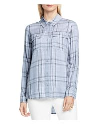 Vince Camuto   Blue Long Sleeve Wistful Plaid Collared Utility Shirt   Lyst