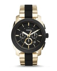 Fossil | Metallic Machine Chronograph Silicone & Stainless Steel Bracelet Watch for Men | Lyst