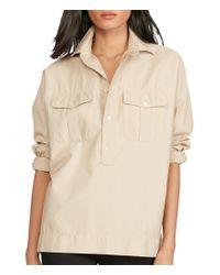Polo Ralph Lauren | Natural Point Collar Dolman Sleeve Cotton Twill Utility Shirt | Lyst