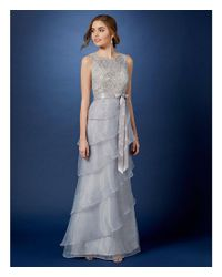 Adrianna Papell - Multicolor Sleeveless Sequin Lace & Organza Ruffle Tiered Gown - Lyst