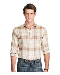Polo Ralph Lauren | Natural Plaid Linen Sport Shirt for Men | Lyst