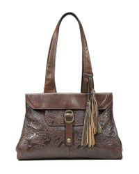 Patricia Nash | Brown Burnished Tooled Lace Collection Spello Tasseled Frame Satchel | Lyst