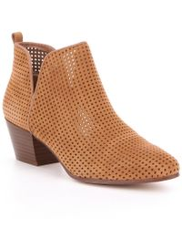Sam Edelman | Brown Rio Perforated Suede Booties | Lyst