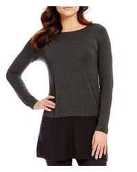 Eileen Fisher   Black Bateau Neck Long Sleeve Stretch Jersey Top   Lyst