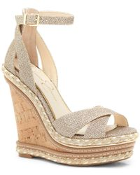 Jessica Simpson | Metallic Ahnika Glitter Fabric Ankle Strap Cork Platform Wedges | Lyst