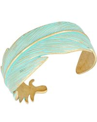 Lucky Brand | Blue Patina Feather Open Cuff Bracelet | Lyst
