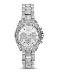 Michael Kors | Metallic Mini Bradshaw Pavé Chronograph & Date Bracelet Watch | Lyst