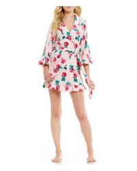 Betsey Johnson | Pink Floral Ruffled Vintage Terry Wrap Robe | Lyst