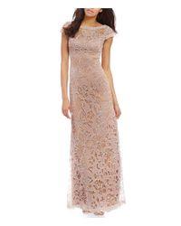 Tadashi Shoji | Pink Petite V-back Illusion Lace Gown | Lyst