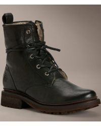 Frye | Black Valerie Lace-up Italian Leather Shearling Lined Boots | Lyst