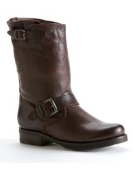 Frye | Brown Veronica Leather Mid-calf Pull On Short Boots | Lyst